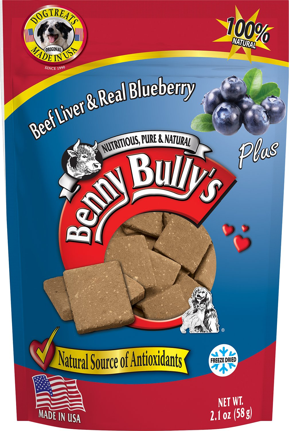Benny Bully's Liver Plus Beef Liver & Real Blueberry Freeze-Dried Dog Treats, 2.1-oz