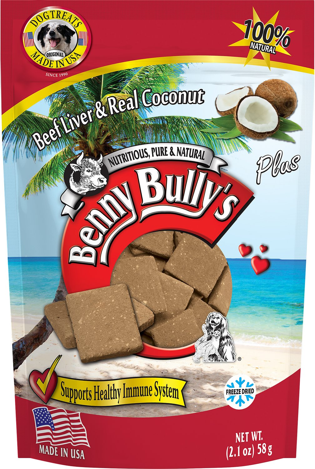 Benny Bully's Liver Plus Beef Liver & Real Coconut Freeze-Dried Dog Treats, 2.1-oz Size: 2.1-oz