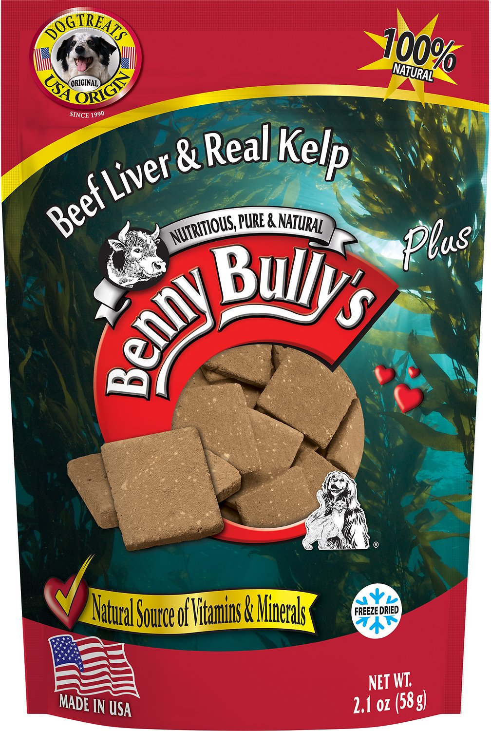 Benny Bully's Liver Plus Beef Liver & Real Kelp Freeze-Dried Dog Treats, 2.1-oz