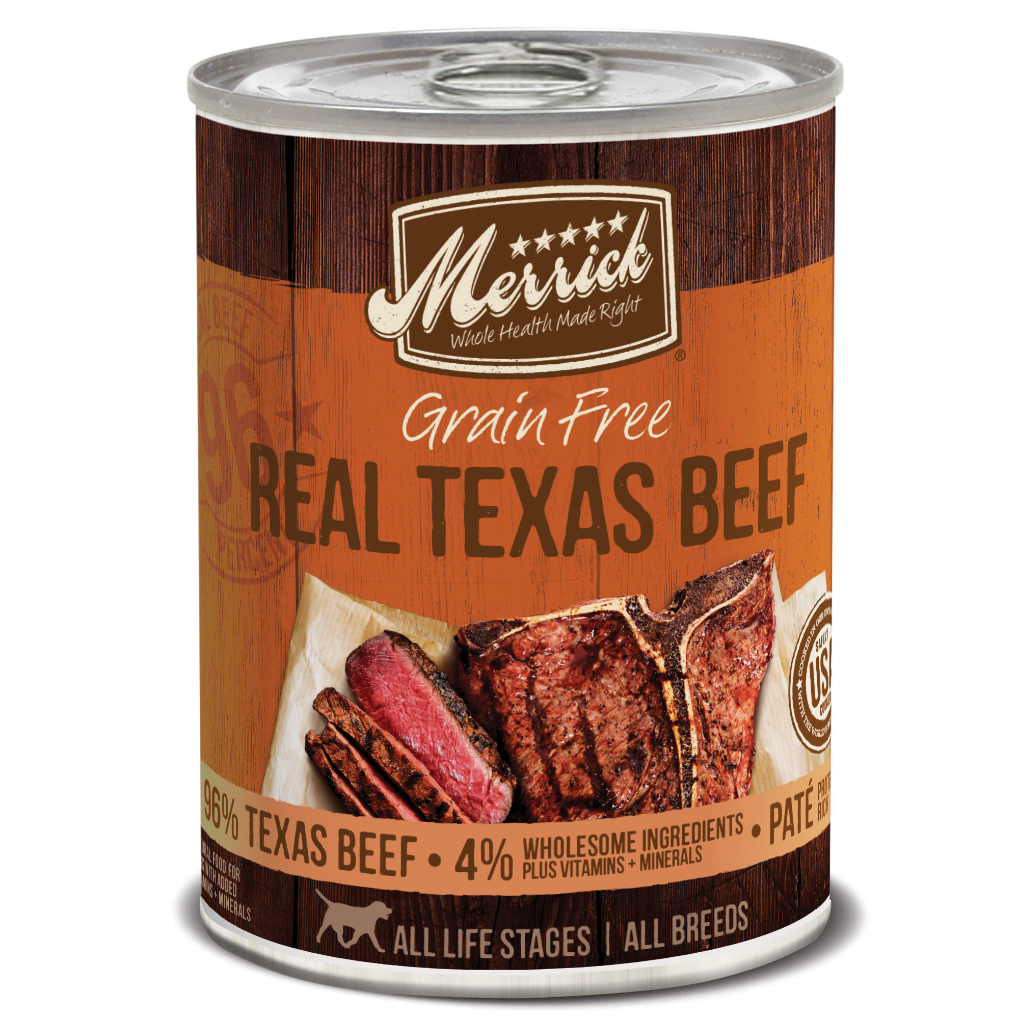 Merrick Grain-Free Real Texas Beef Canned Dog Food, 12.7-oz