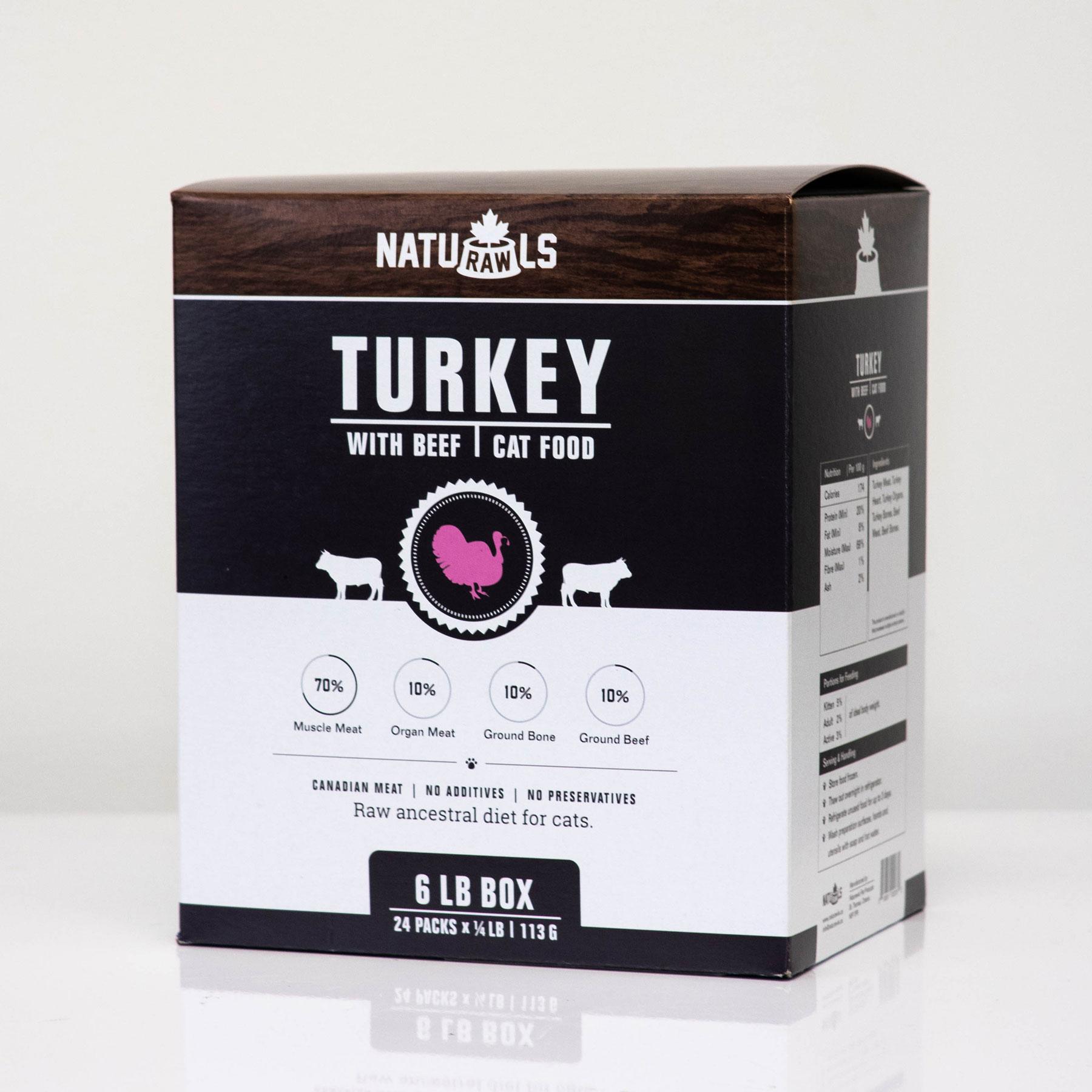 Naturawls Turkey with Beef Raw Cat Food, 6-lb