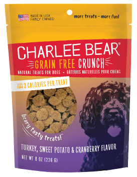 Charlee Bear Natural Bear Crunch Turkey, Sweet Potato & Cranberry Grain-Free Dog Treats, 8-oz bag