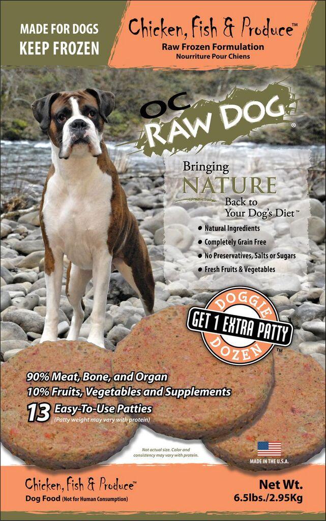 OC Raw Dog Chicken, Fish & Produce Patties Raw Frozen Dog Food, 6.5-lb