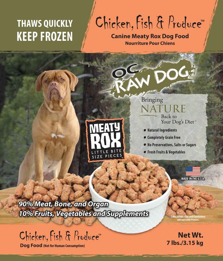 OC Raw Dog Chicken, Fish & Produce Meaty Rox Raw Frozen Dog Food, 7-lb