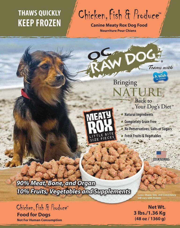 OC Raw Dog Chicken, Fish & Produce Meaty Rox Raw Frozen Dog Food, 3-lb