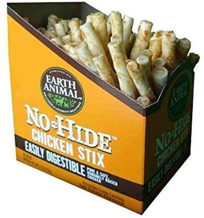 Earth Animal No-Hide Chicken Stix Chew Dog Treat, 90 Unit CASE
