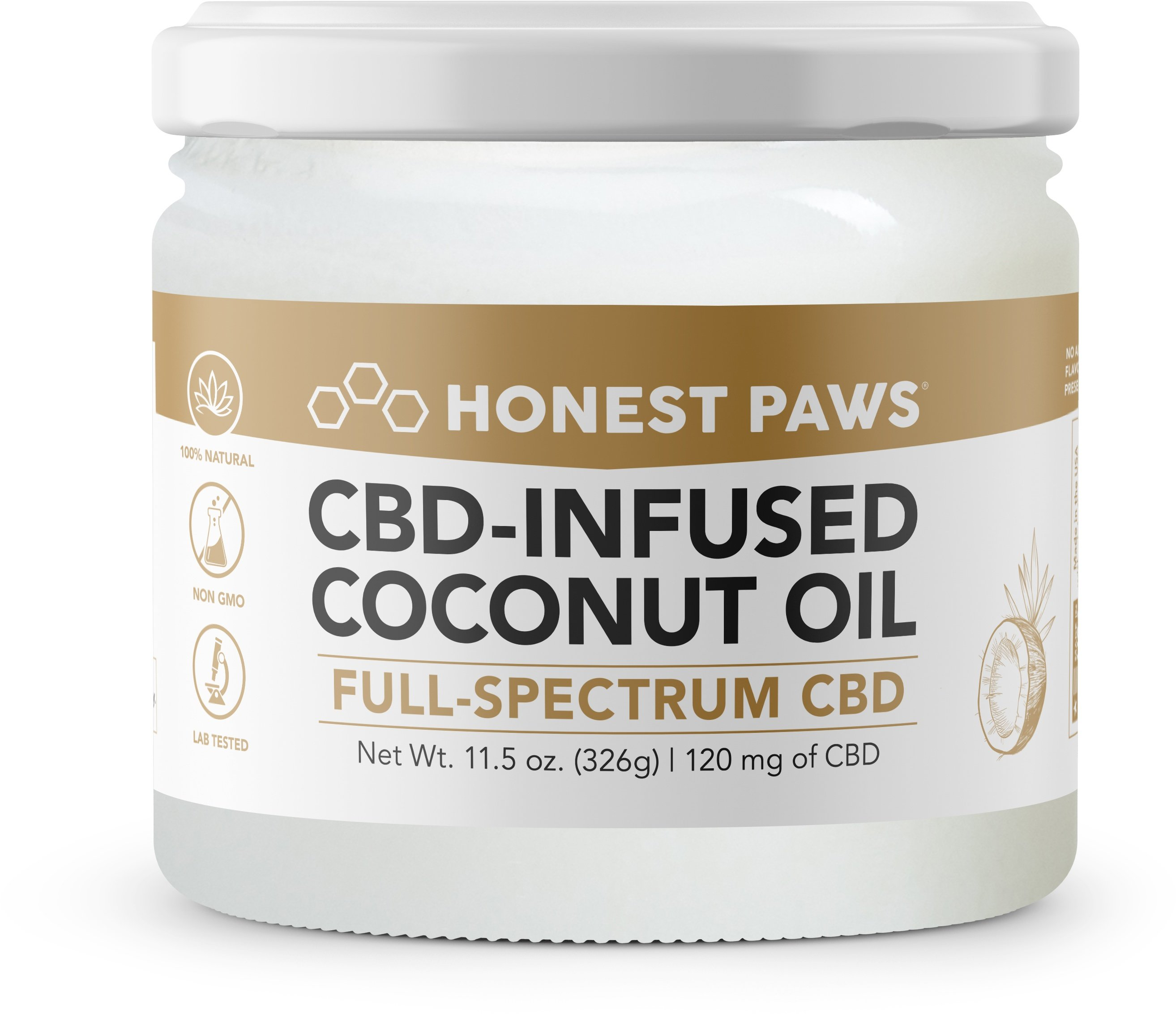 Honest Paws Coconut Oil 120mg Alternative Supplement for Pets, 11.5-oz