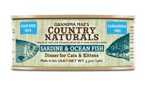 Grandma Mae's Country Naturals Grain-Free Sardine & Ocean Fish Dinner Wet Cat Food, 5.5-oz