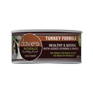 Dave's Cat Food Naturally Healthy Grain-Free Turkey Formula Canned Cat Food, 5.5-oz