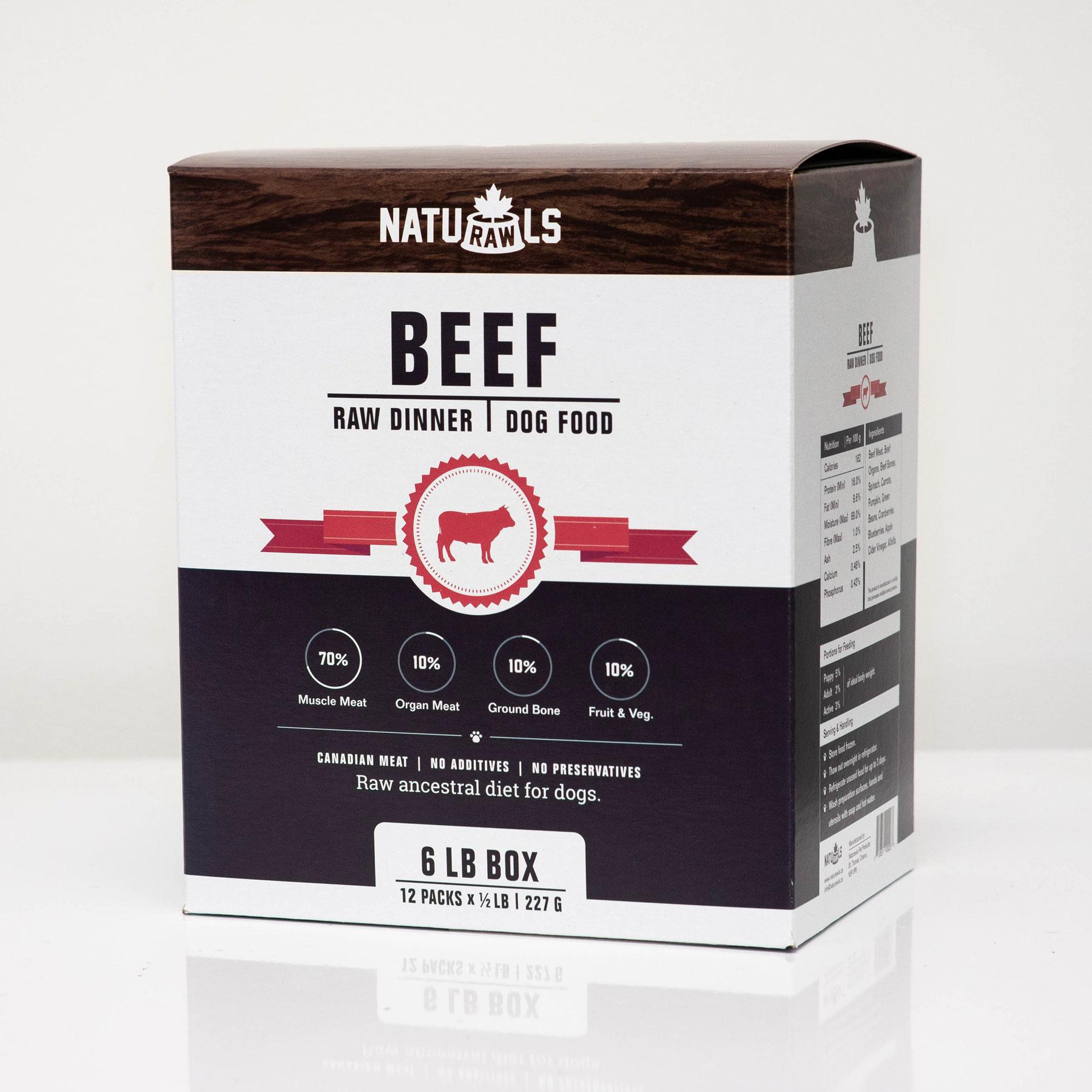Naturawls Beef Raw Dog Food, 6-lb