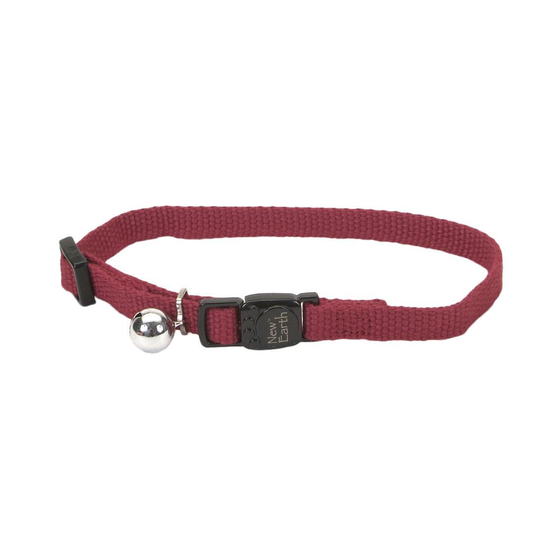 Coastal New Earth Soy Adjustable Breakaway Cat Collar, Cranberry, 8-12-in