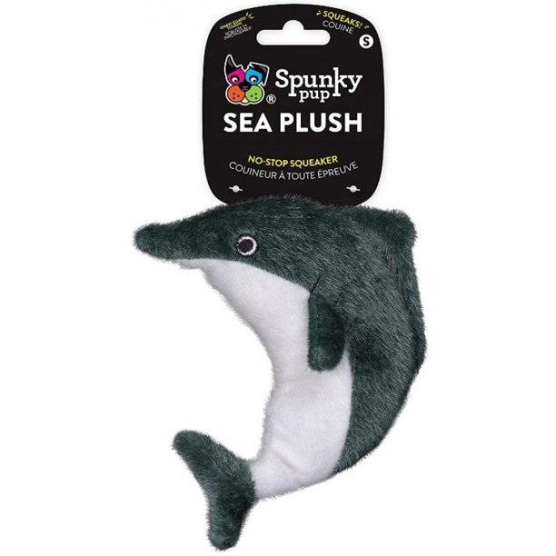 Spunky Pup Sea Plush Dolphin Dog Toy, Small