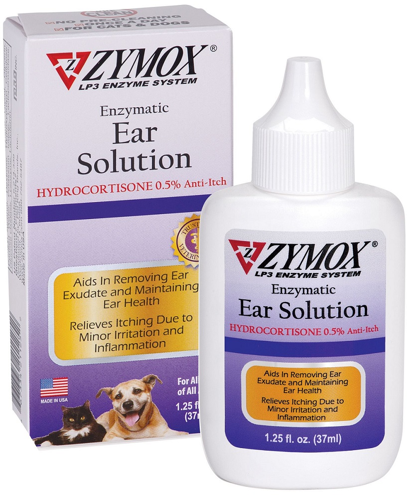 Zymox Ear Solution with .5% Hydrocortisone for Dogs & Cats, 1.25-oz bottle