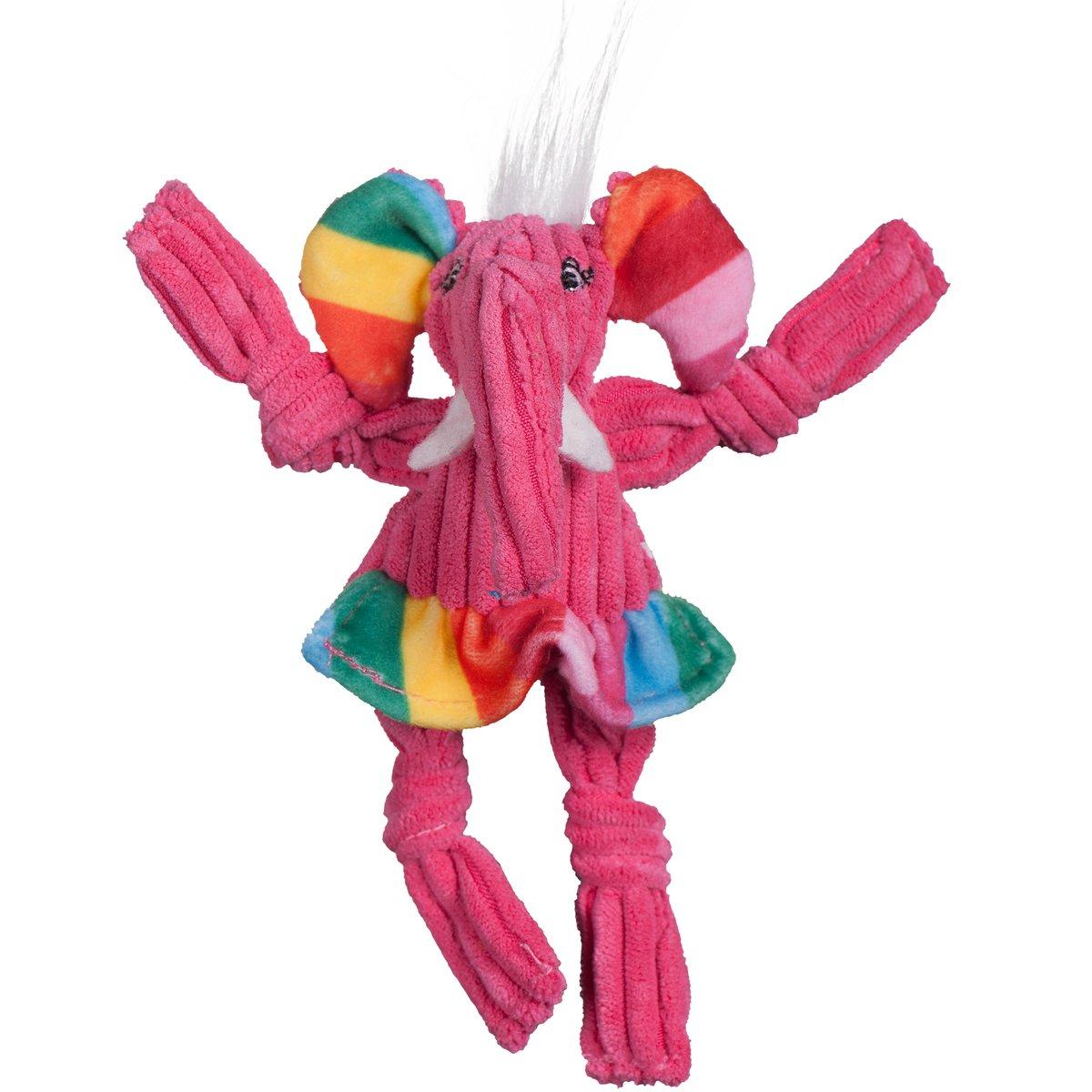 HuggleHounds Knottie Rainbow Elephant Plush Dog Toy Image