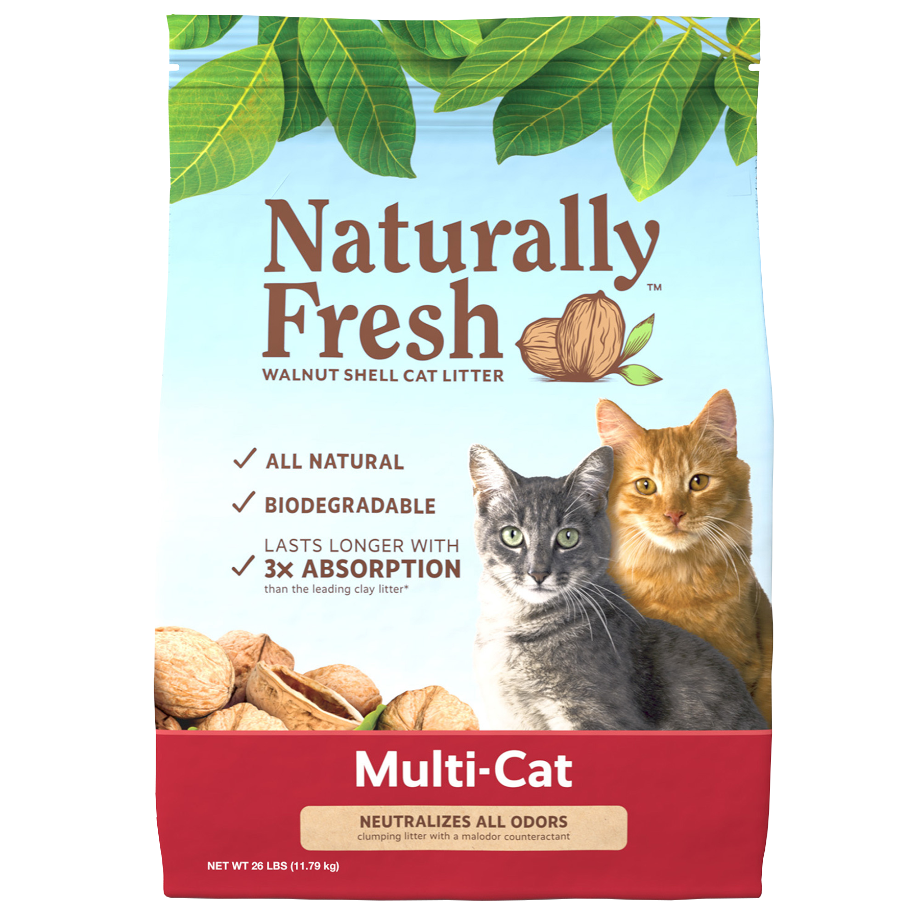 Naturally Fresh Walnut-Based Multi-Cat Natural Quick-Clumping Cat Litter, 26-lb