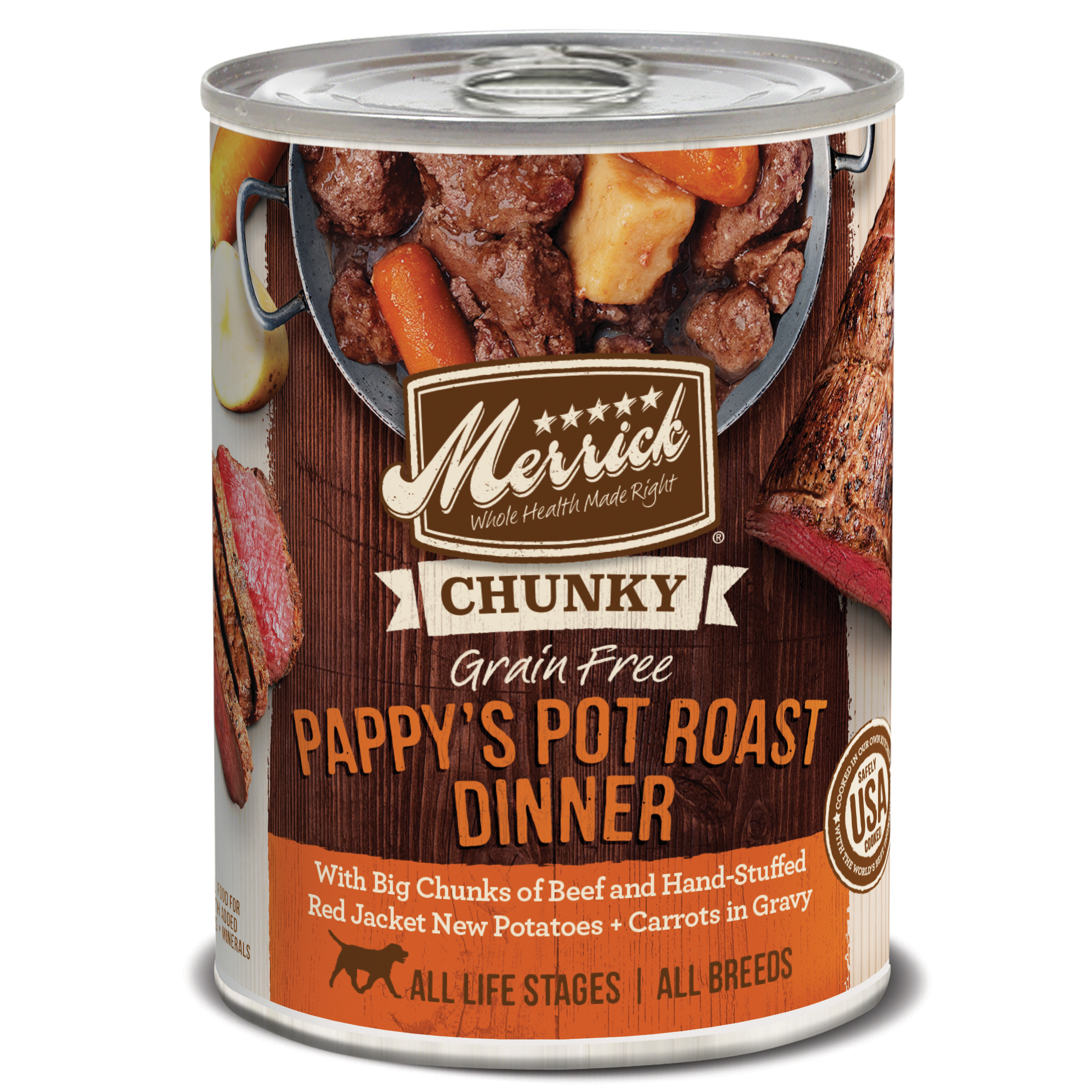 Merrick Chunky Grain-Free Pappy's Pot Roast Dinner Canned Dog Food, 12.7-oz, case of 12