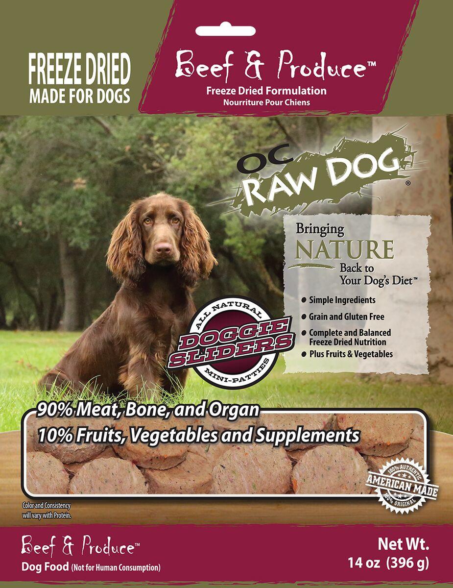 OC Raw Dog Beef & Produce Sliders Raw Freeze-Dried Dog Food, 14-oz