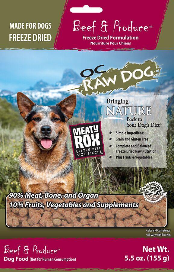 OC Raw Dog Beef & Produce Meaty Rox Raw Freeze-Dried Dog Food, 5.5-oz