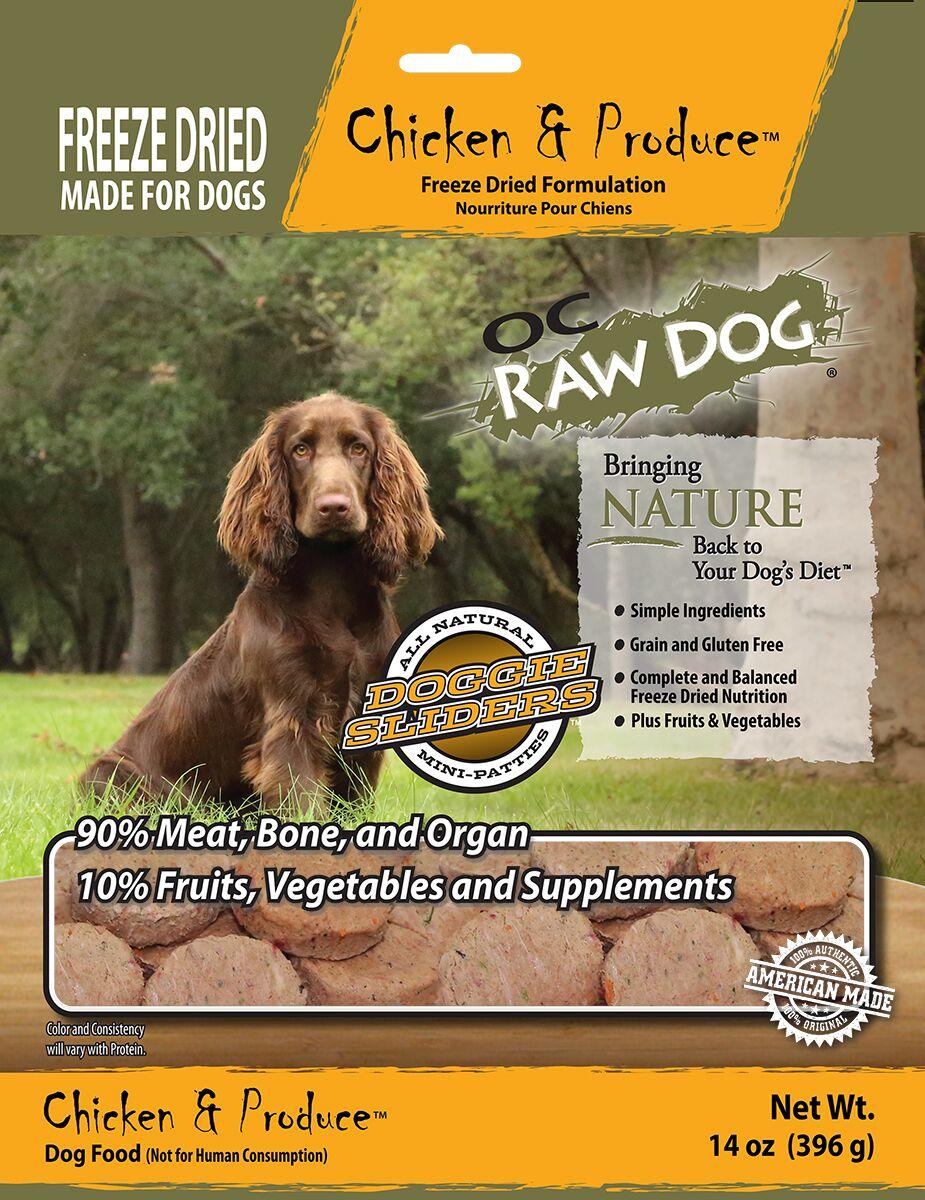 OC Raw Dog Chicken & Produce Sliders Raw Freeze-Dried Dog Food, 14-oz