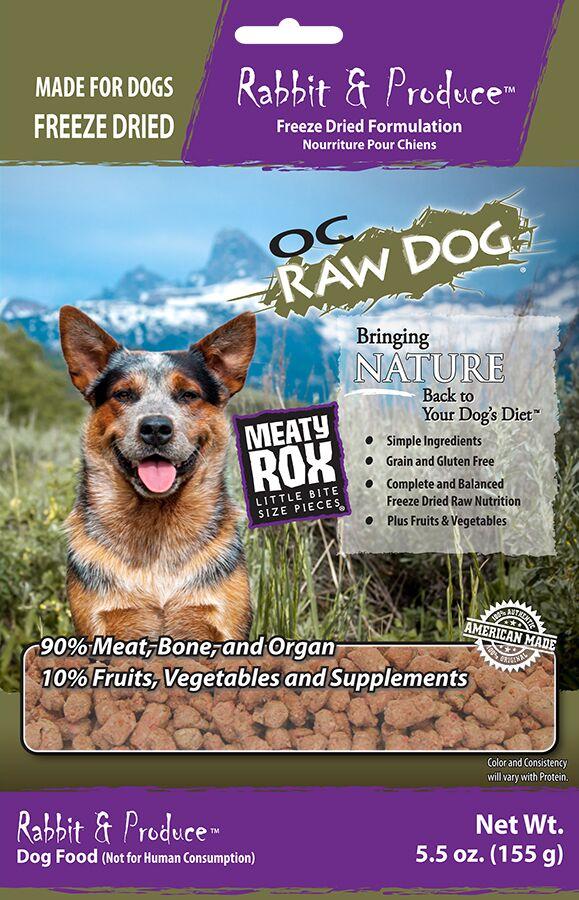 OC Raw Dog Rabbit & Produce Meaty Rox Raw Freeze-Dried Dog Food, 5.5-oz