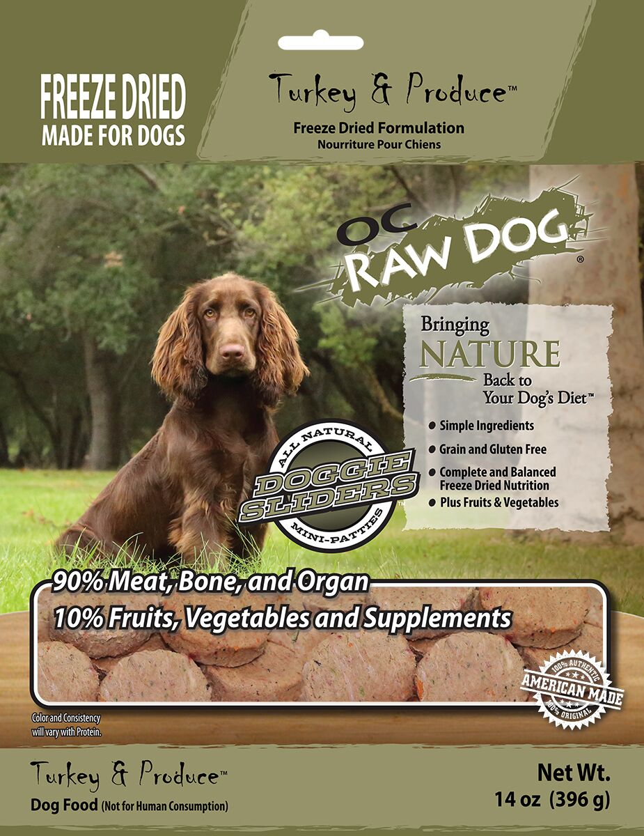 OC Raw Dog Turkey & Produce Sliders Freeze-Dried Dog Food, 14-oz