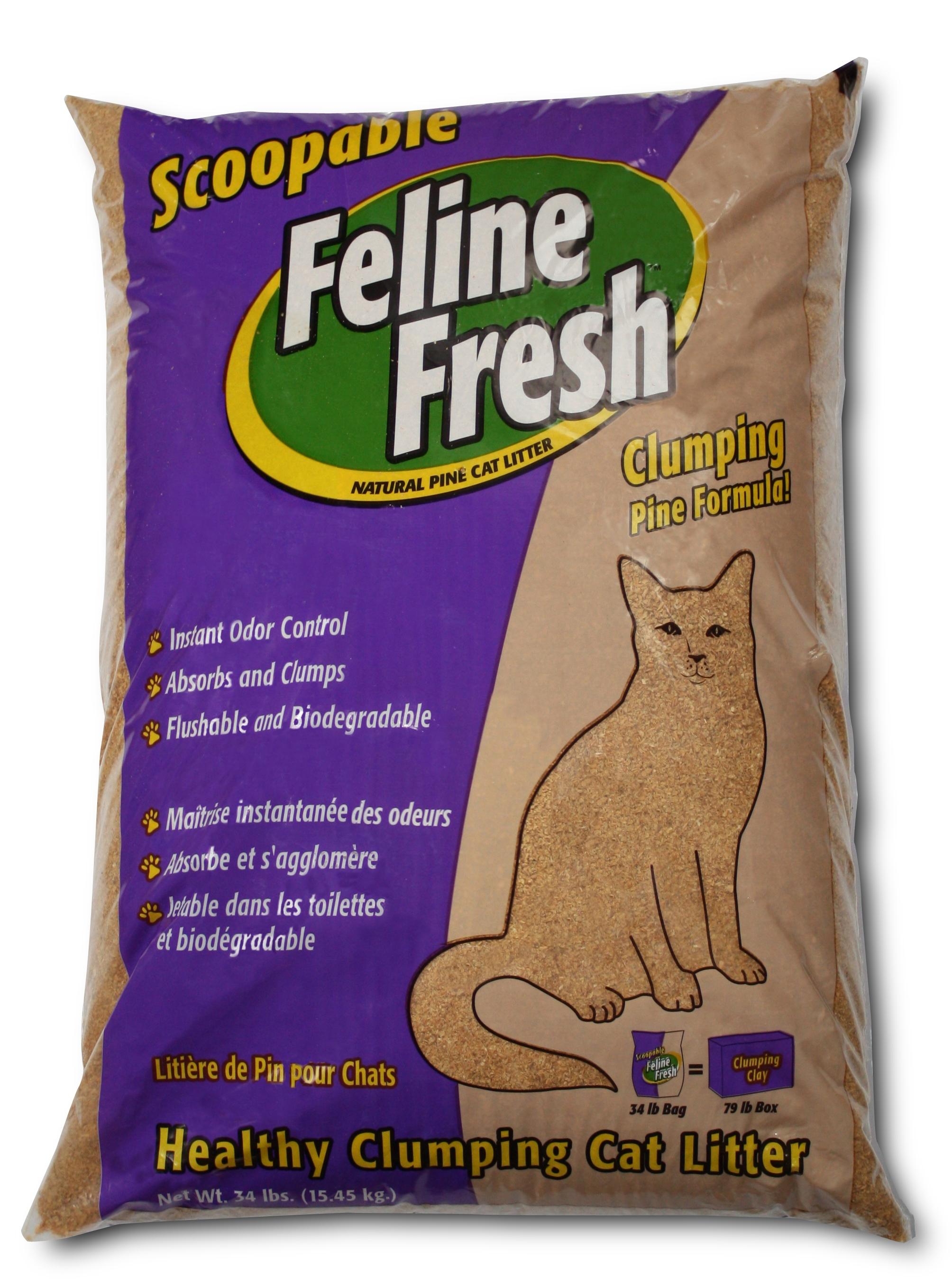 Feline Fresh Clumping Pine Cat Litter, 34-lb