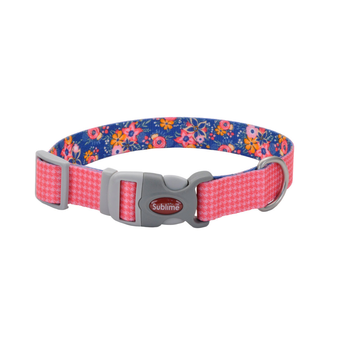 Sublime Adjustable Dog Collar, Pink Houndstooth, 1-in x 12-in-18-in