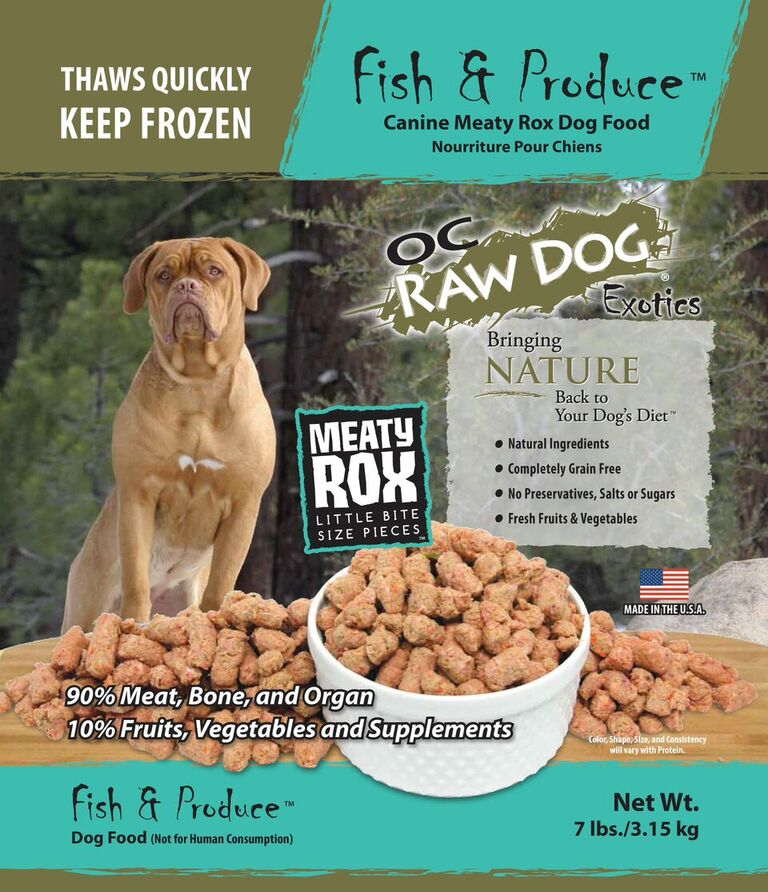 OC Raw Dog Fish & Produce Meaty Rox Raw Frozen Dog Food, 7-lb