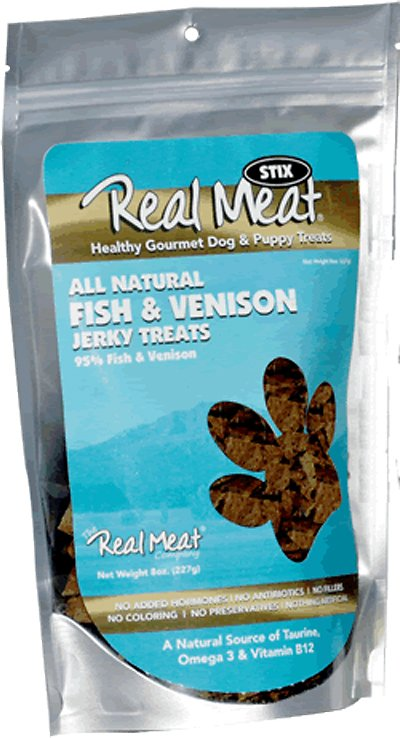 The Real Meat Company 95% Fish & Venison Jerky Stix Dog Treats, 8-oz bag