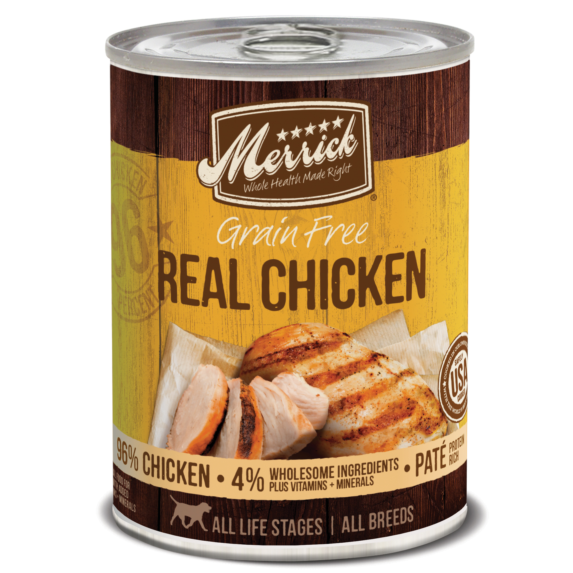 Merrick Grain-Free Real Chicken Canned Dog Food, 12.7-oz
