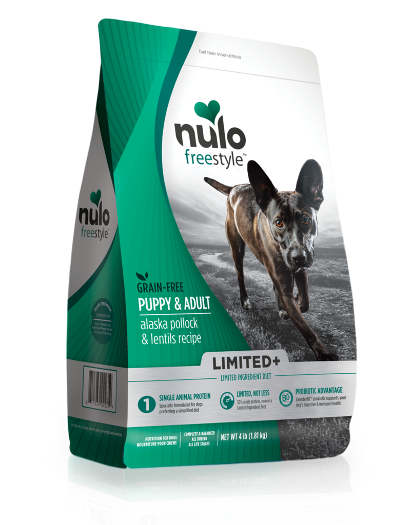 Nulo Dog Freestyle Limited+ Pollock & Lentil Grain-Free Puppy & Adult Dry Dog Food, 4-lb