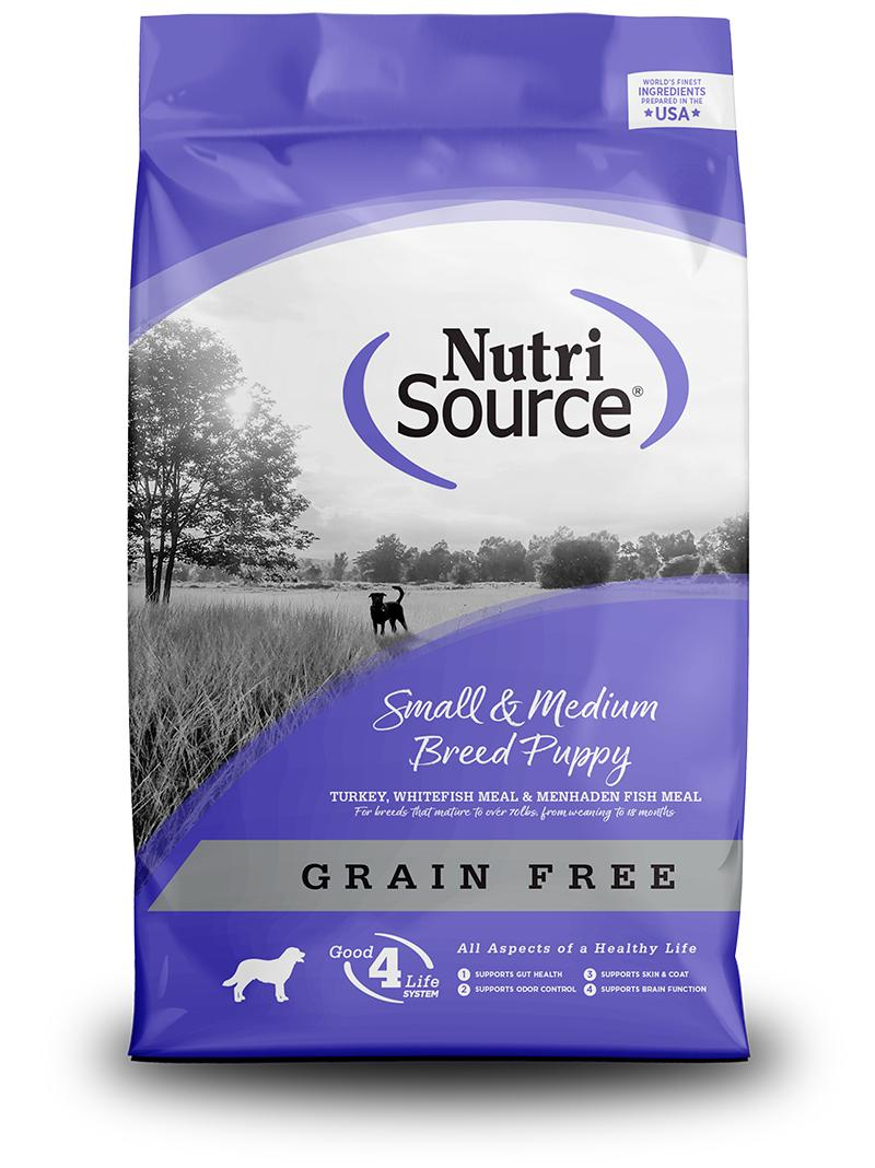 NutriSource Small & Medium Breed Puppy Recipe Grain-Free Dry Dog Food, 5-lb