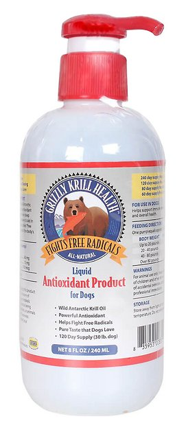 Grizzly Krill Health Liquid Antioxidant Dog Supplement, 8-oz bottle