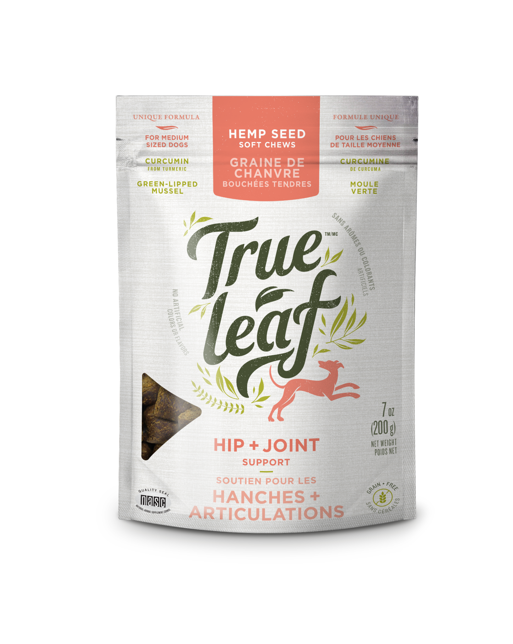True Leaf Hip + Joint Support Chews for Medium Dogs, 7-oz bag
