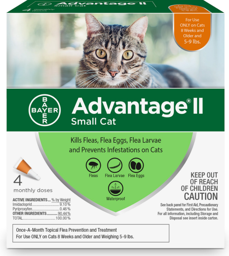 Bayer Advantage II Flea Treatment for Small Cats 5 lbs to 9 lbs & Ferrets, 4-pack