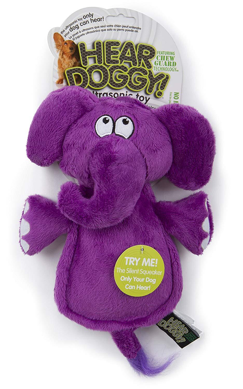 Hear Doggy Silent Squeaker Chew Guard Flattie Elephant Dog Toy, Mini