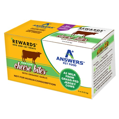 Answers Rewards Raw Cow Cheese Bites with Garlic Frozen Dog & Cat Treats, 8-oz