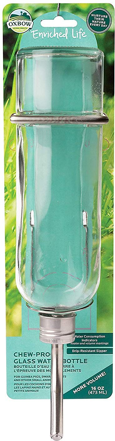 Oxbow Enriched Life Chew Proof Glass Small Animal Water Bottle, 16-oz