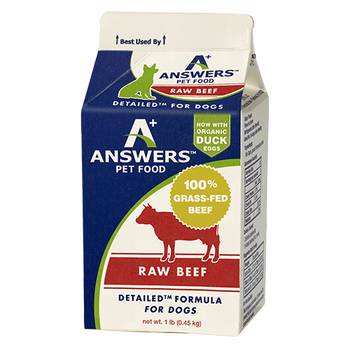 Answers Detailed Formula Raw Beef Frozen Dog Food, 1-lb