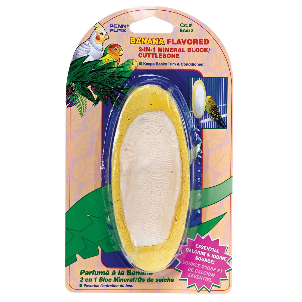 Penn-Plax Banana Flavored Mineral Block/ Cuttlebones Bird Treats