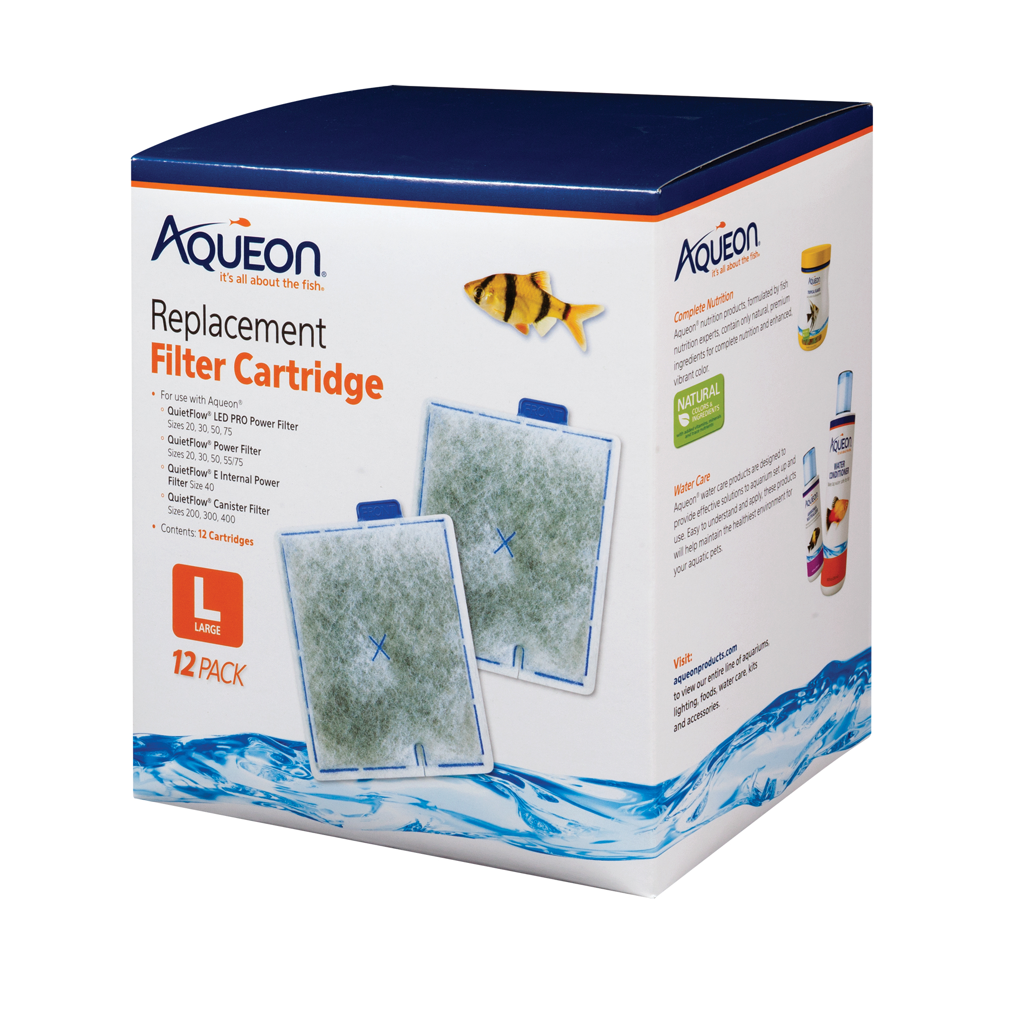 Aqueon Replacement Filter Cartridges, Large, 12-pack
