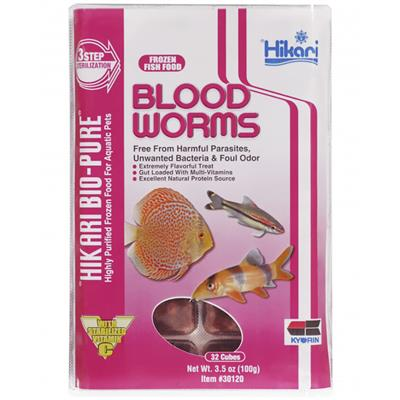 Hikari Bio-Pure Blood Worms Frozen Fish Food, 3.5-oz