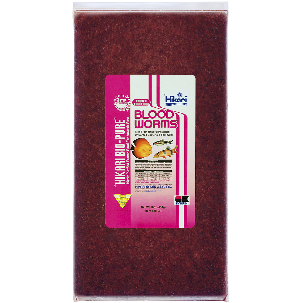 Hikari Bio-Pure Blood Worms Frozen Fish Food, 16-oz