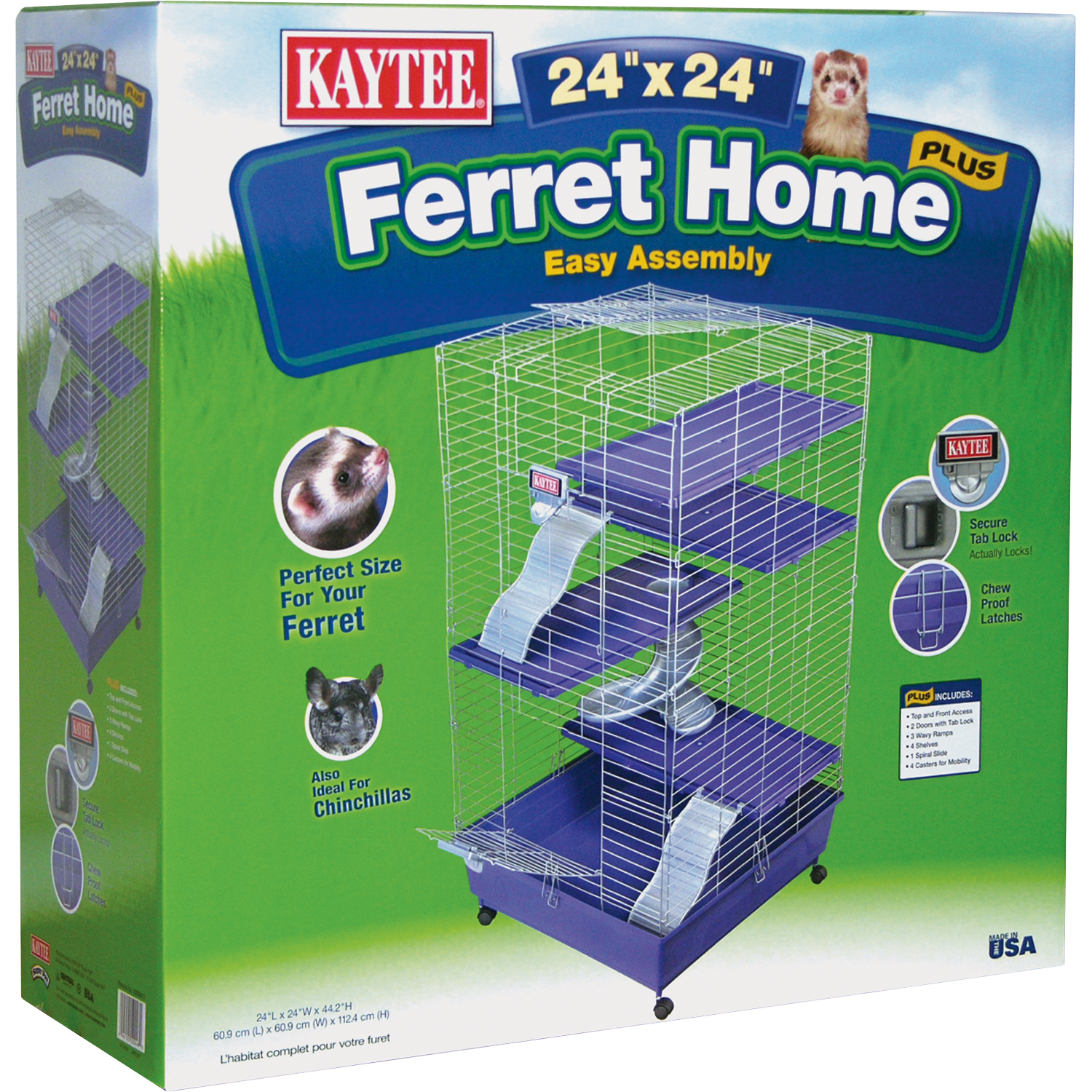 Kaytee Deluxe Multi-Level Home with Casters, 24-in x 24-in