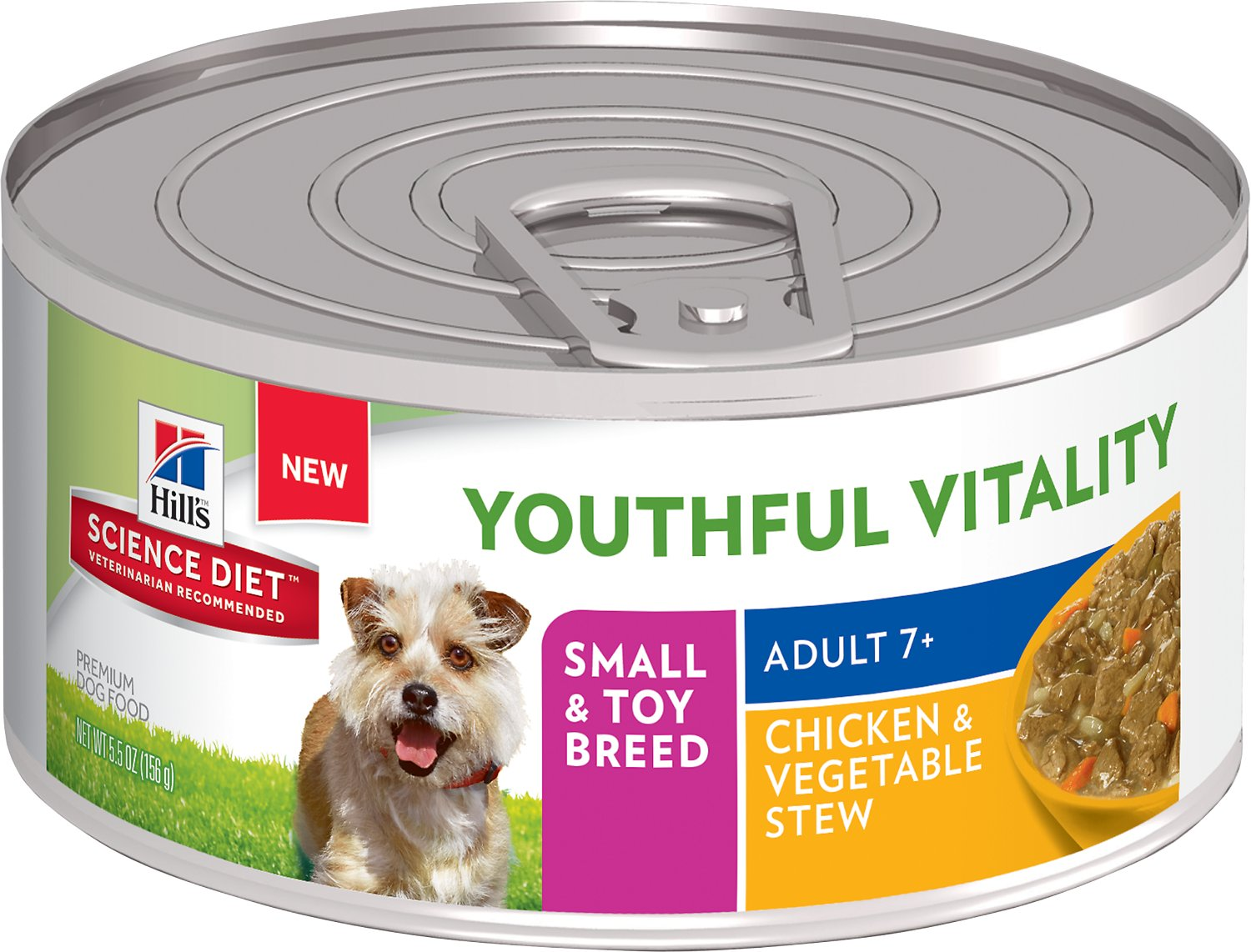 Hill's Science Diet Adult 7+ Small & Toy Breed Youthful Vitality Chicken & Vegetable Stew Canned Dog Food, 5.5-oz