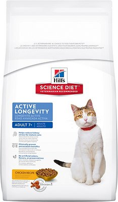 Hill's Science Diet Adult 7+ Active Longevity Chicken Recipe Dry Cat Food, 16-lb bag