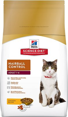 Hill's Science Diet Adult Hairball Control Dry Cat Food, 7-lb bag