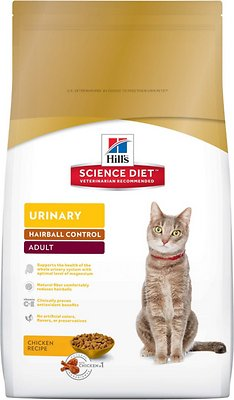 Hill's Science Diet Adult Urinary Hairball Control Dry Cat Food, 3.5-lb bag