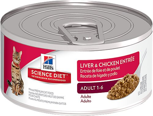 Hill's Science Diet Adult Liver & Chicken Entree Canned Cat Food, 5.5-oz