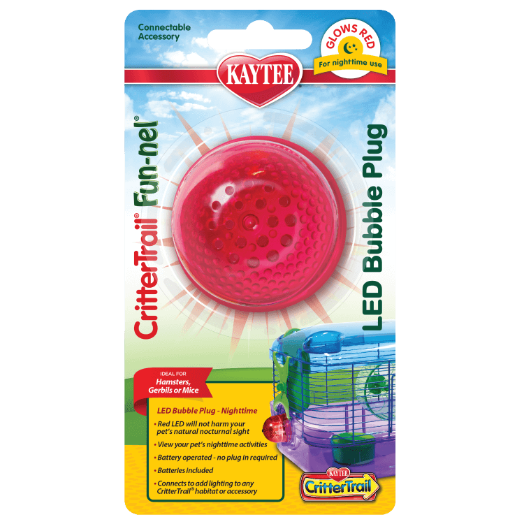 Kaytee CritterTrail Fun-nel LED Bubble Plug for Hamsters, Red